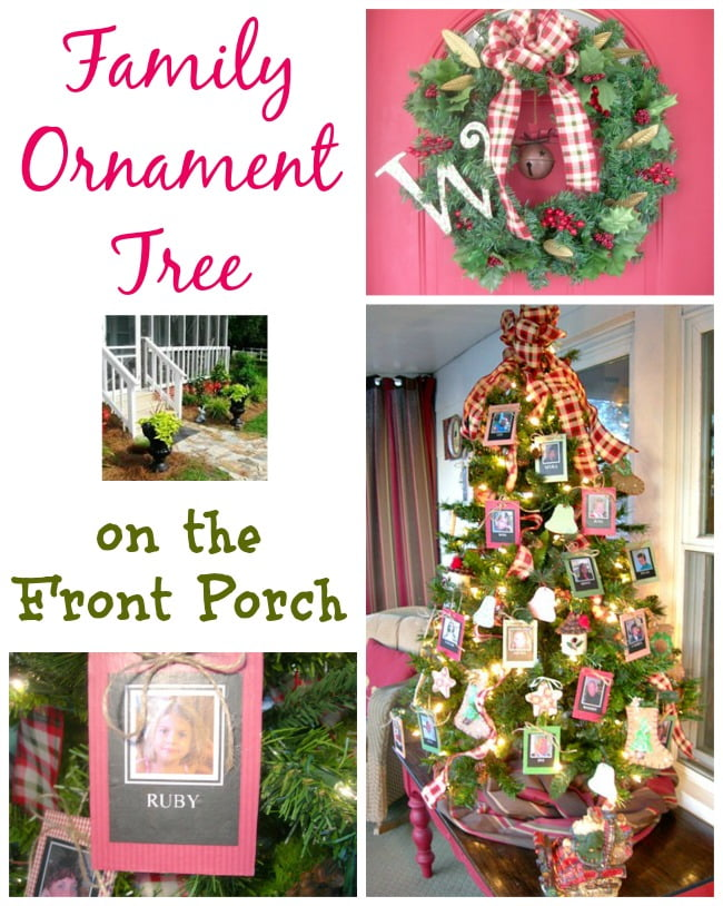 Christmas Family Ornament Tree on  the Porch | Cottage at the Crossroads