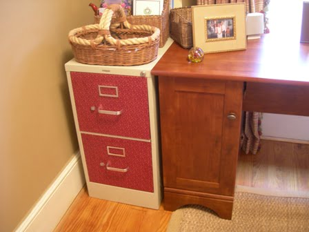 Fabric Covered Filing Cabinets - Cottage at the Crossroads