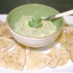 white bean dip with homemade pita chips