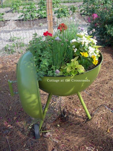 old Barbeque planter
