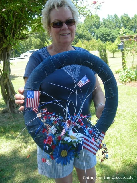 fourth of July patriotic wreath, pool noodle wreath
