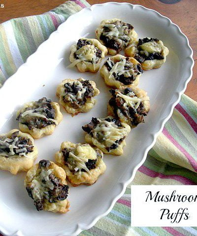 Delicious mushroom puffs appetizer