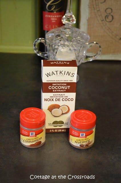 coconut flavoring, nutmeg, and cinnamon