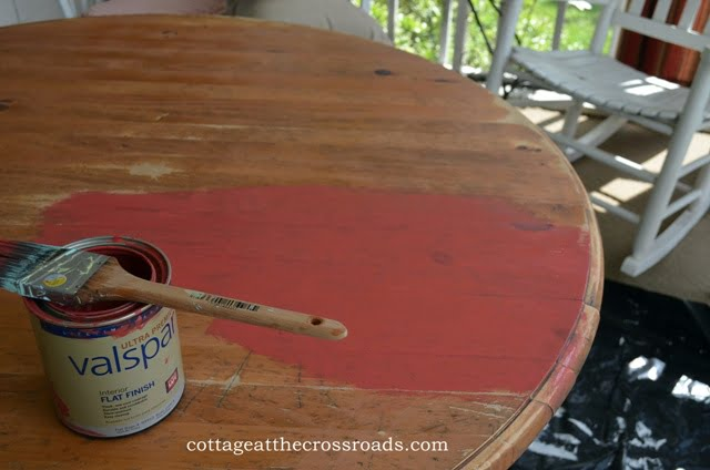 table sanded and painting began