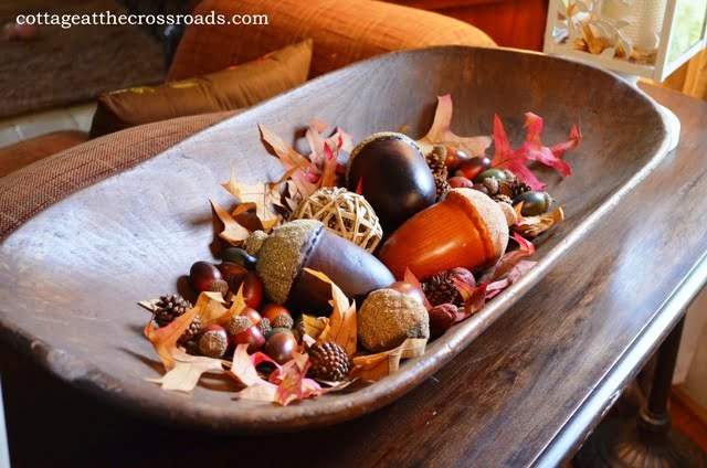 dough tray filled with acorns