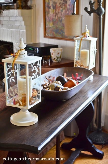 sofa table with lanterns and dough tray