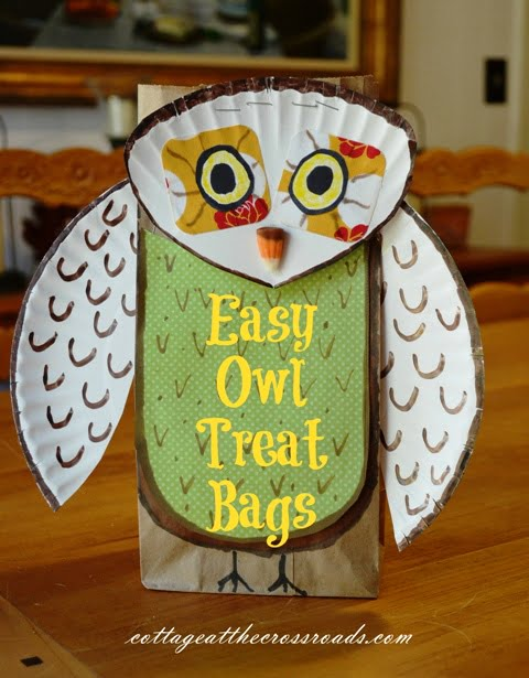 owl made from a paper bag and paper plate & Easy Owl Treat Bags - Cottage at the Crossroads
