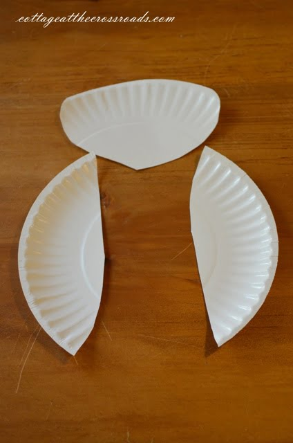wings and head cut from a paper plate