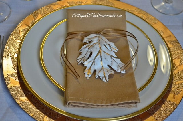bronze charger and plaster of paris leaf