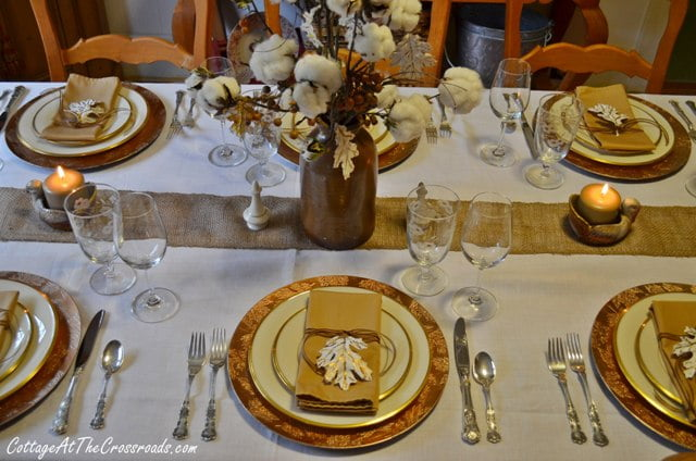 cotton centerpiece on table