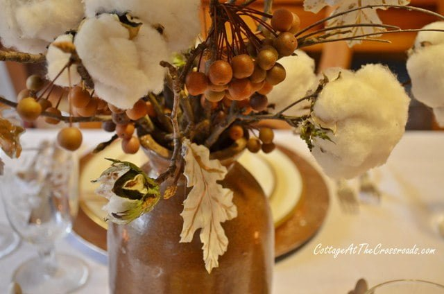 plaster of paris leaf in centerpiece
