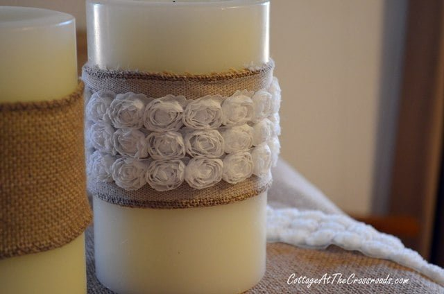 white roses trim on burlap