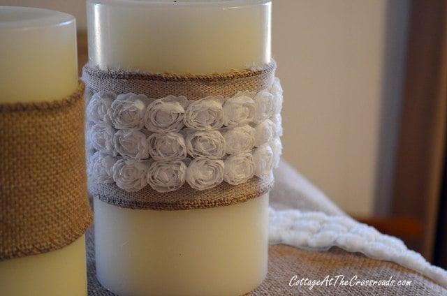 white roses trim on burlap
