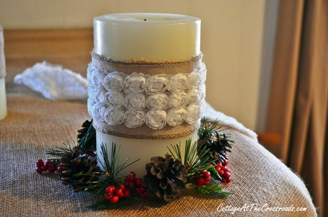 pine cone candle ring
