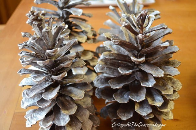 pine cones spray painted with silver
