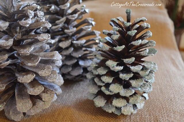 a few aqua pine cones
