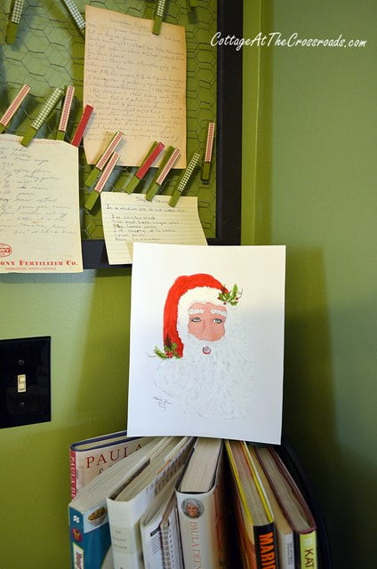 original watercolor of Santa