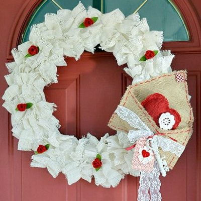 Ruffled Burlap Valentine's Day Wreath