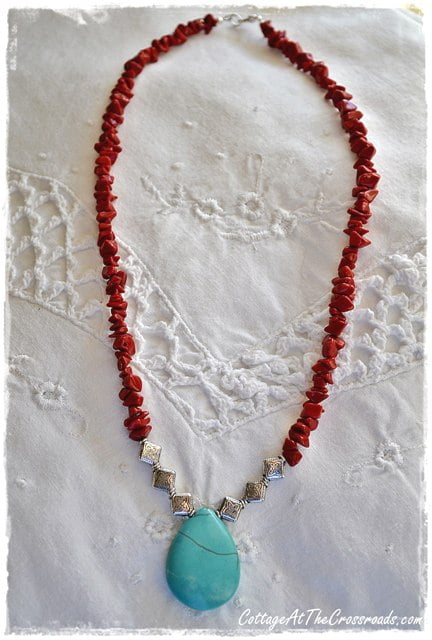 coral and turquoise necklace 064