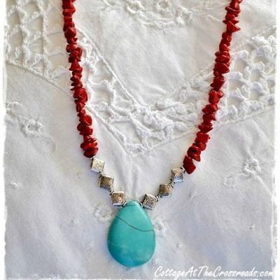 coral ad turquoise necklace