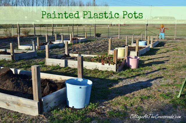 painted plastic pots