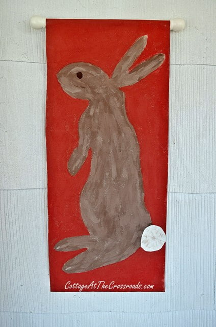 painted bunny wall hanging