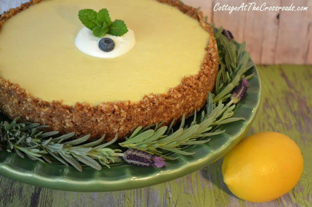 lemon cheesecake with blueberry topping