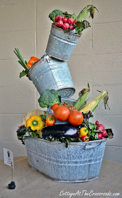 topsy turvy planter used as a centerpiece for a party
