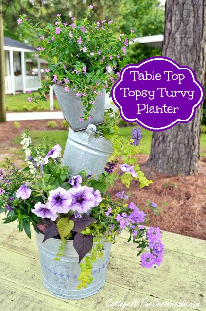 Table top Topsy Turvy Planter from Cottage at the Crossroads
