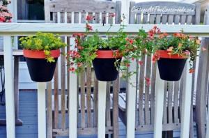 terracotta pot holders on railing