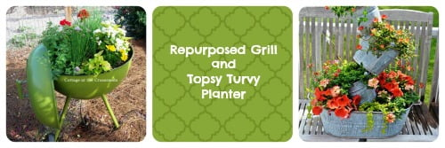 repurposed grill and topsy turvy planter