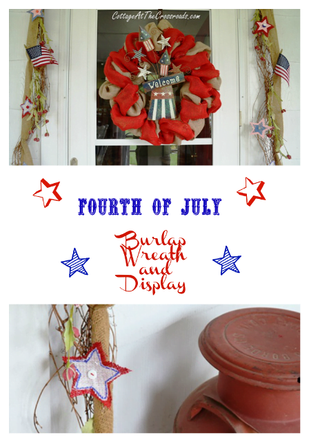 Fourth of July Burlap Wreath and Display from Cottage at the Crossroads