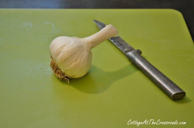 Whole head of garlic on cutting board.
