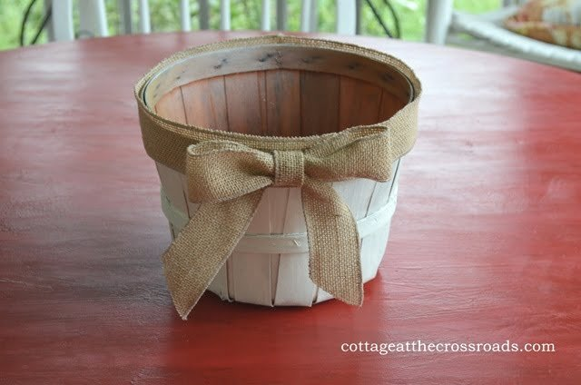 painted apple basket with burlap