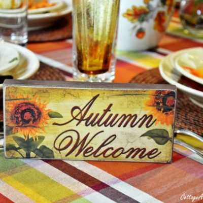 fall tablescape-Autumn Welcom