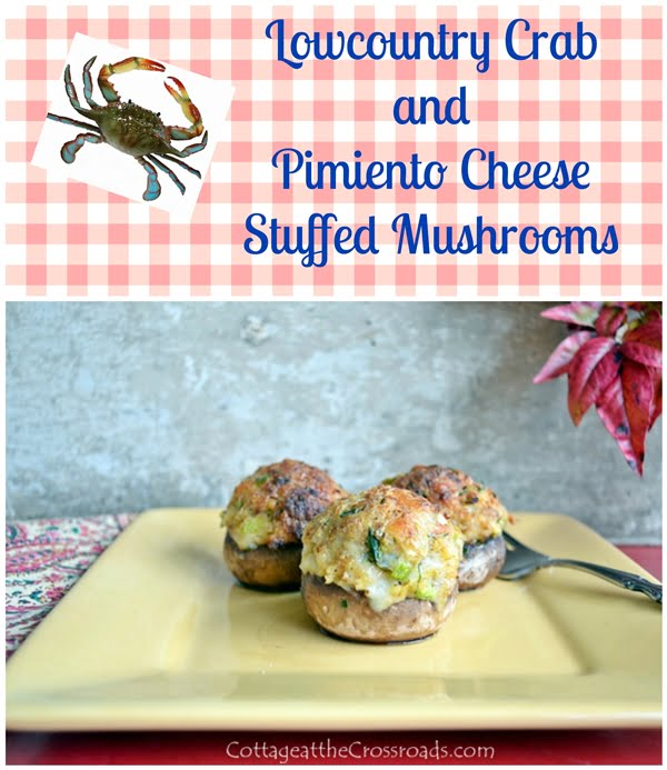 crab and pimiento cheese stuffed mushrooms