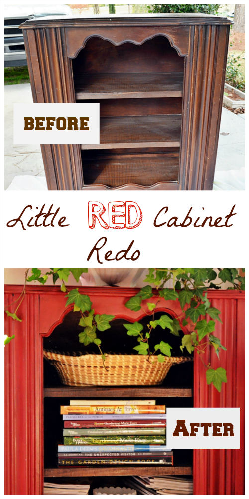 Little Red Cabinet Redo from Cottage at the Crossroads