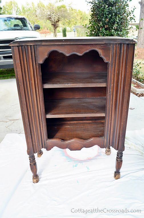 old stained music cabinet