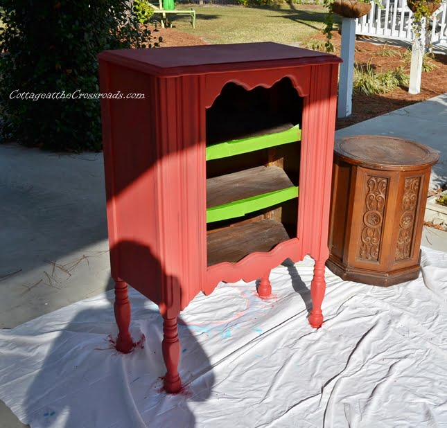 red painted cabinet