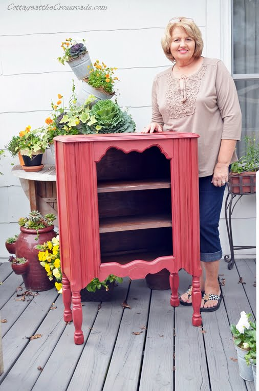 red pinted cabinet