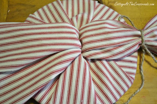 red ticking peppermint twist pillow