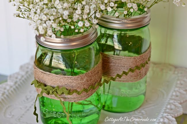 Easy Spring Centerpiece With Green Ball Jars Delectable Ball Jar Decorations