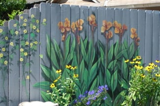 Wooden Fence Panels In The Garden