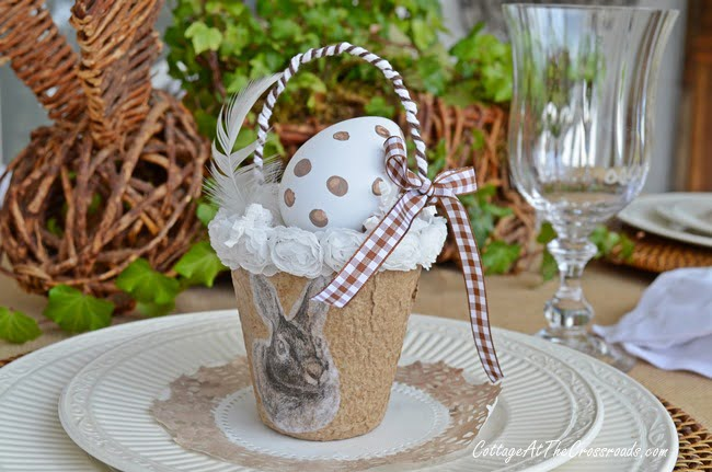 Neutral Bunny Tablescape | Cottage at the Crossroads