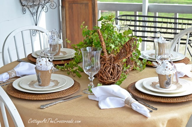 Bunny Tablescape done in neutral colors | Cottage at the Crossroads