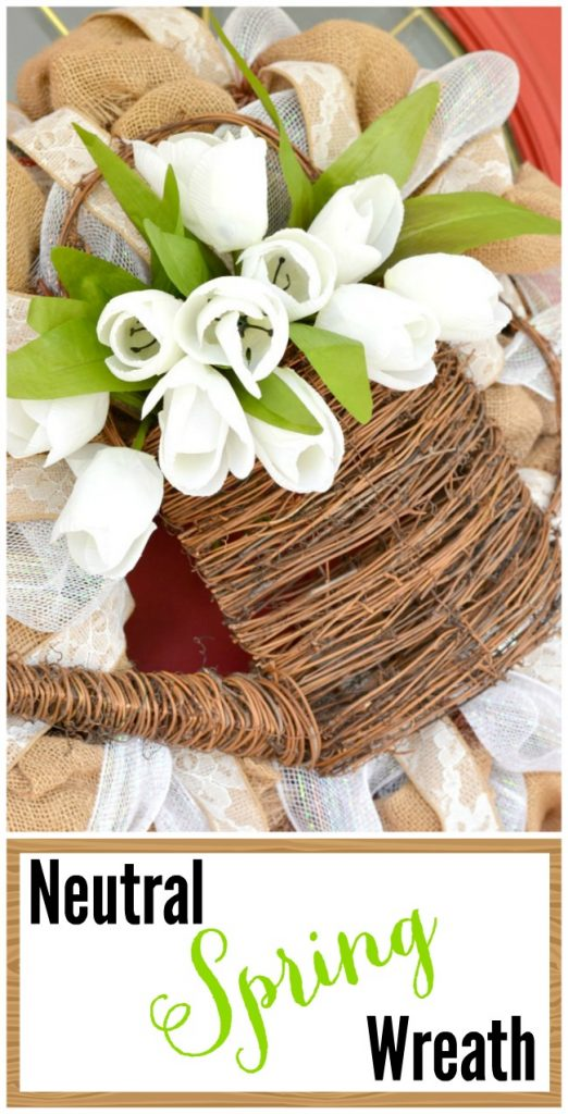 A beautiful spring wreath done in soft, neutral colors | Cottage at the Crossroads