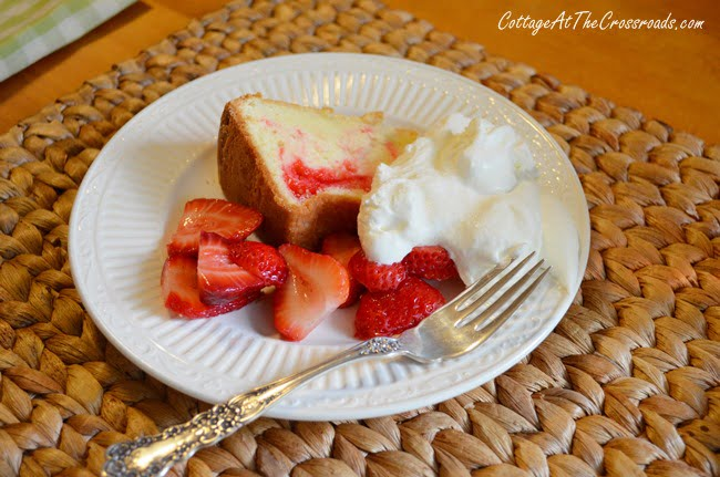 pound cake and strawberries | Cottage at the Crossroads