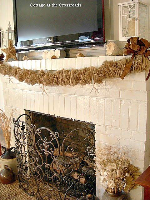 burlap mantel garland | Cottage at the Crossroads