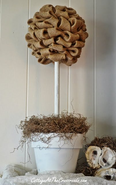 How to Make a Burlap Topiary | Cottage at the Crossroads