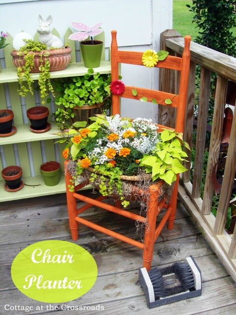 chair planter | Cottage at the Crossroads
